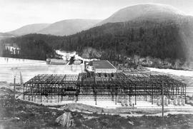 South Slocan switch station, powerhouse, dam and spillway, Kootenay River.