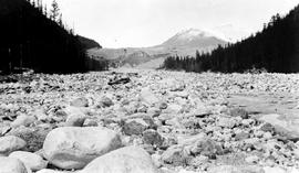 """Tiedemann Mountain and broken ice at the foot of Tiedemann Glacier; Mystery Mountain or Mou..."