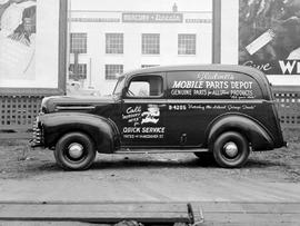 Gladwell Motors parts truck at Gladwell Motors, southwest corner of Vancouver and Yates Street, V...