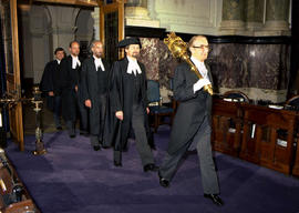 The Speaker's Procession; lead by Speaker of the House, the Honourable Harvey Schroeder, Ser...