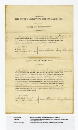 County of Cariboo, Naturalizations : Carstens, Frederick Henry