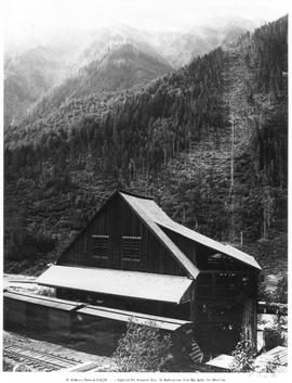 Canadian Pacific boxcars; at the Lanark Mine concentrator; Illecillewaet River Valley, east of Revelstoke.
