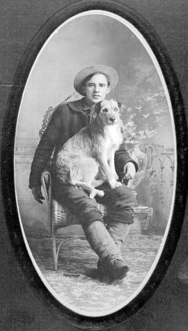 "Mr. E.G. Stall, and his dog, ""Tommy Whiskers""."