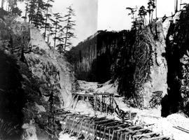 """Nanaimo Dam construction from west at bottom of canyon, 8th Aug 1931"", No. 37, (left h..."