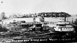 A Hudson's Bay Company riverboat at Fort Simpson.