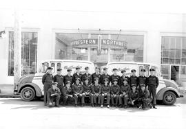 Northwestern Creamery milk men; posed outside the creamery at 1015 Yates Street, Victoria.