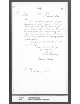 [T.] B. Humphreys to Amor De Cosmos : forwarding certified copy of Order of Council re Island rai...