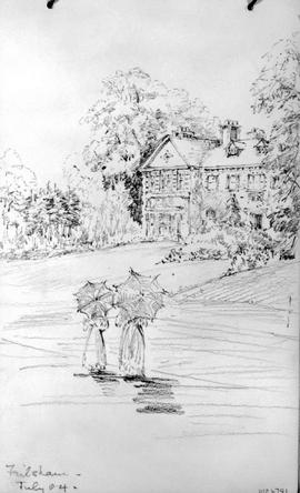 Fulsham [Showing Two Women With Umbrellas In Front Of Large Home]