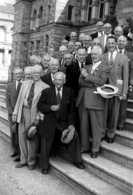 Group of First World War 48th Battalion (CEF) veterans on steps of the BC Legislative Buildings.