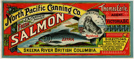 """North Pacific Canning Co. Fresh Salmon, Skeena River British Columbia, Walrus Brand""; ..."