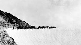 Swannell Survey; pack horses crossing an ice field.