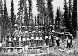 Barkerville Masonic Group in Cariboo. S.R. [Scottish Rite?] 469.  A. Kelly, J.D. Thompson M.P. fo...