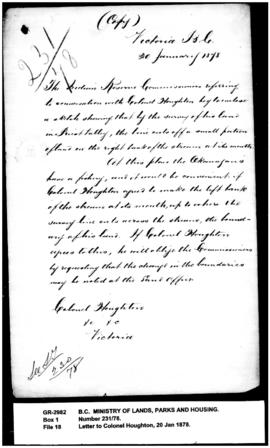 Copy of letter from the Commissioners to Colonel Houghton and copy of his reply