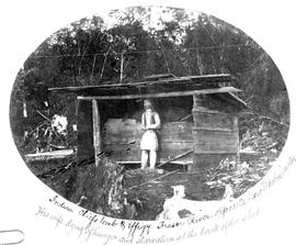Indian Chiefs tomb and effigy. Fraser River, opposite New Westminster. His wife dying of hunger and starvation at the back of the shed.""