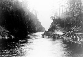 """Flume alongside river during Nanaimo Dam construction, 1st May 1931"", No. 41."