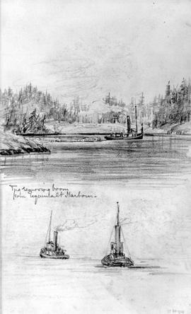 Tug Removing Boom From Esquimalt Harbour [Plus Sketch Below With Two Tugs]