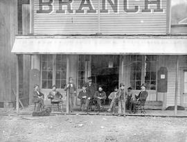 Group in front of the Branch Hotel, Front Street, Yale, BC.