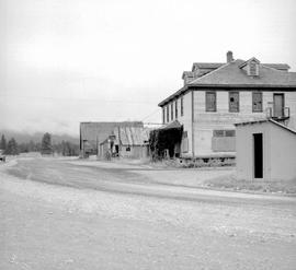Fort Steele shortly before restoration; main street looking southwest showing the government office and the Moore store..