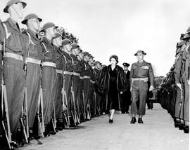 The Princess Elizabeth, Duchess Of Edinburgh, Inspecting The Guard Of Honour In Front Of The Parliament Buildings, Victoria.
