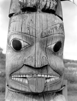 Detail of totem pole at Kispiox.