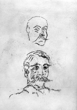 [Two Heads Of Man With Moustache]