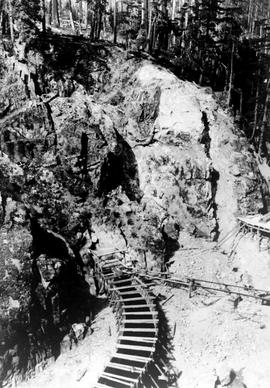 """East portal of tunnel prior to firing first shot in tunnel at 9:30 am, Nanaimo Dam"", N..."
