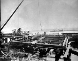"""Cittomg edge pier No. 4""; construction of the Fraser River Bridge in New Westminster."