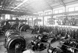 """Interior view of powerhouse, the Granby Consolidated Mining, Smelting and Power Co. at Anyo..."