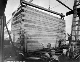 """Crib pier No. 6""; construction of the Fraser River Bridge in New Westminster."
