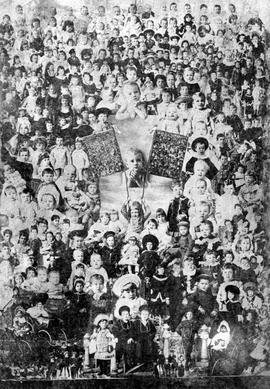 """British Columbia Gems of the Year 1883""; composite photo made from the children's portraits taken the previous year, at centre are the Gems of 1881 and 1882."