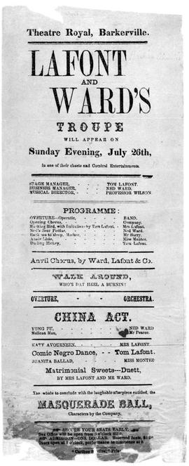 """Theatre Royal, Barkerville; LaFont and Ward's Troupe...."""