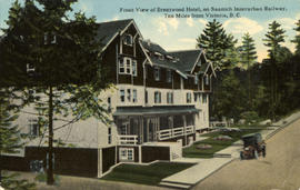 """Front view of Brentwood Hotel, on the Saanich Interurban Railway, ten miles from Victoria, ..."
