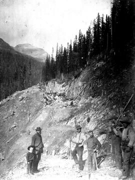 Construction Crew Making A Rock Cut On The Canadian Pacific Railway.