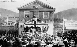 """Presenting addresses to Sir Wilfred Laurier at Prince Rupert."""