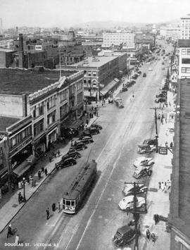 """Douglas Street, Victoria, BC""; shot likely taken from the Campbell Building at the sou..."
