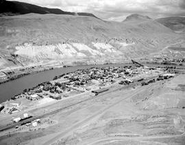 Aerial shot of Ashcroft on the Thompson River.