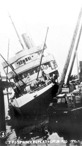 The SS Prince Rupert after wrecking In Swanson Bay on 28 Sep 1920.