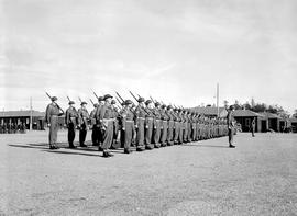 Troops awaiting inspection during the Princess Elizabeth, Duchess of Edinburgh and Prince Philip,...