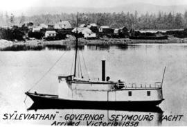 The SY Leviathan, Governor Seymour's yacht, arrived in Victoria 1858.
