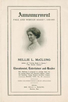 """Announcement, Fall and Winter Season, 1910 - 1911, Nellie L. McClung""; MS-0010."