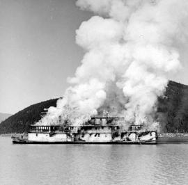The SS Minto  Being Burned At Galena Bay