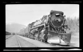 2-10-4; Selkirk no. 5902, sharp 3/4 right, closeup, excellent detail, snowplow pilot, on passenge...