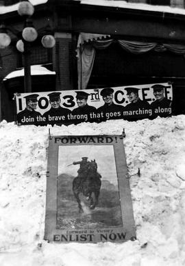 Recruiting posters in the snow at the northeast corner of Fort and Douglas Street; the Big Snow, ...