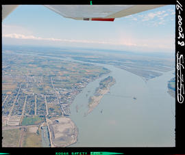 Aerial of the Fraser River at Delta.
