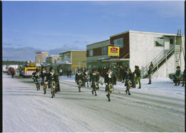 Winter carnival, 100 Mile House; pipe band