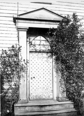 Front door of Craigflower Manor at Craigflower Farm; Kenneth McKenzie's residence.