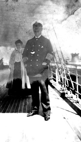 Laura Dunsmuir, in the background, with Kaiser Wilhelm on the shakedown cruise of the Dolaura