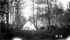"""Indian teepee, Halfway River Indian Reserve""; Pacific Great Eastern Railway lands surv..."