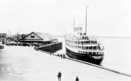 """C.N.R. dock, Prince Rupert BC""; The SS Prince Robert leaving Prince Rupert."