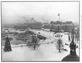 The inner harbour, causeway and the Empress Hotel, taken from the top of the legislature; the Big...